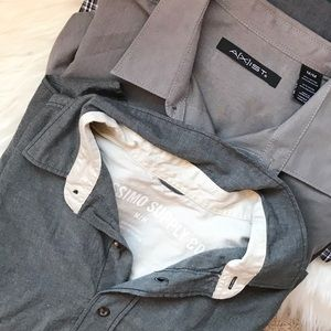 MENS 2 grey button down shirts